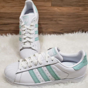 New Adidas Superstar White Mint Green Sneakers